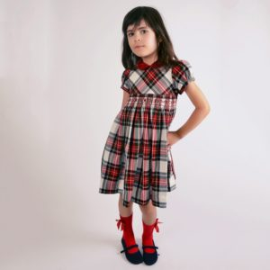 KIDIWI Girls Red Tartan Hand Smocked Dress
