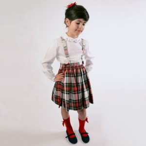 KIDIWI Girls Red Tartan Skirt & Blouse 2 Piece Set