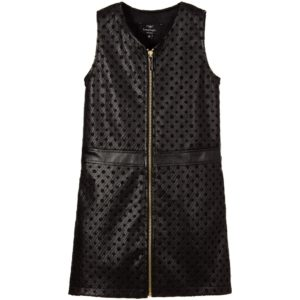 miguel-vieira-black-synthetic-leather-zip-up-dress