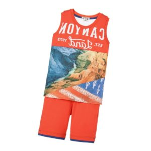 EVERYTHING MUST CHANGE Boys Red Vest & Shorts Set