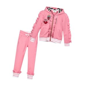 FENDI Girls Pink Cotton Jersey Tracksuit