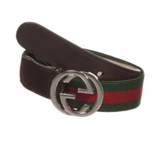 GUCCI Green & Red Elastic 'GG' Buckle Belt