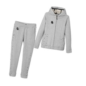 KARL LAGERFELD KIDS Girls Grey Cotton Tracksuit