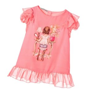 MAYORAL CHIC Girls Coral Pink Chiffon Blouse