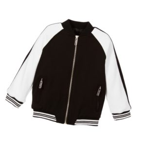 MIGUEL VIEIRA Boys Black & White Varsity Jacket