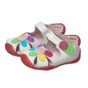 PEDIPED GRIP 'N' GO (9-36MTH) Girls White Leather 'Daisy' Sandals