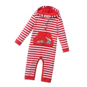 POWELL CRAFT Boys Red Stripe Cotton Babygrow with Train