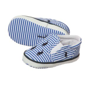 RALPH LAUREN Blue & White Striped Canvas Baby Shoes