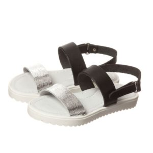 STEP2WO Girls Black & Silver Leather Sandals
