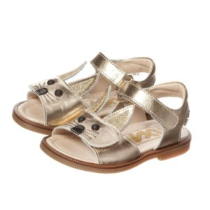 STEP2WO Girls Gold Leather Rabbit Sandals