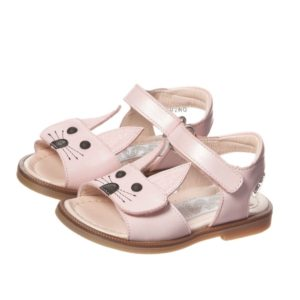 STEP2WO Girls Pink Leather Rabbit Sandals