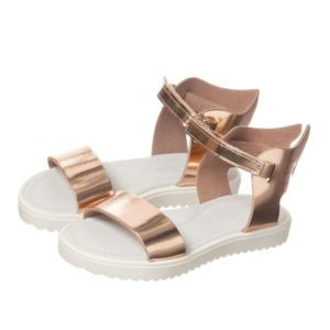 STEP2WO Girls Rose Gold Patent Leather Sandals