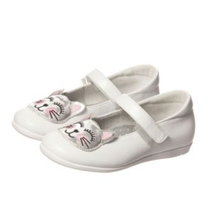 STEP2WO Girls White Bar Shoes with Cat Motif