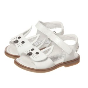 STEP2WO Girls White Leather Bunny Sandals