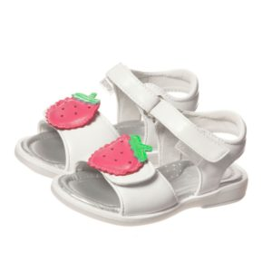 STEP2WO Girls White Leather Sandals With Strawberries