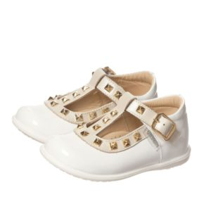 STEP2WO Girls White Patent T-Bar Shoes