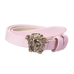 YOUNG VERSACE Girls Pink Patent Leather Belt with Medusa Buckle